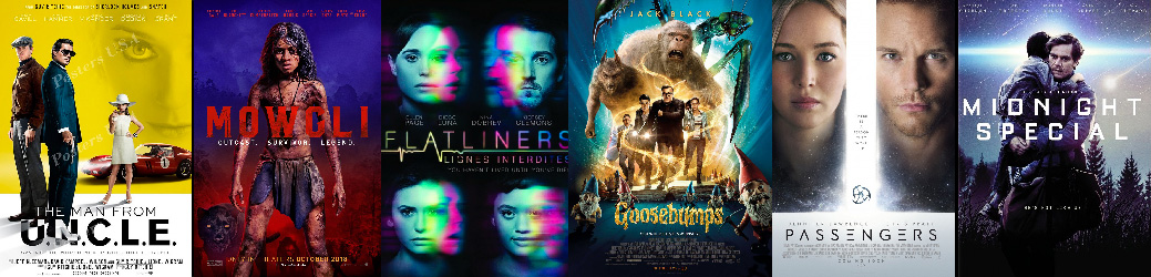 Movie Posters for The Man From UNCLE, Mowgli, Flatliners, Goosebumps, Passengers, Midnight Special