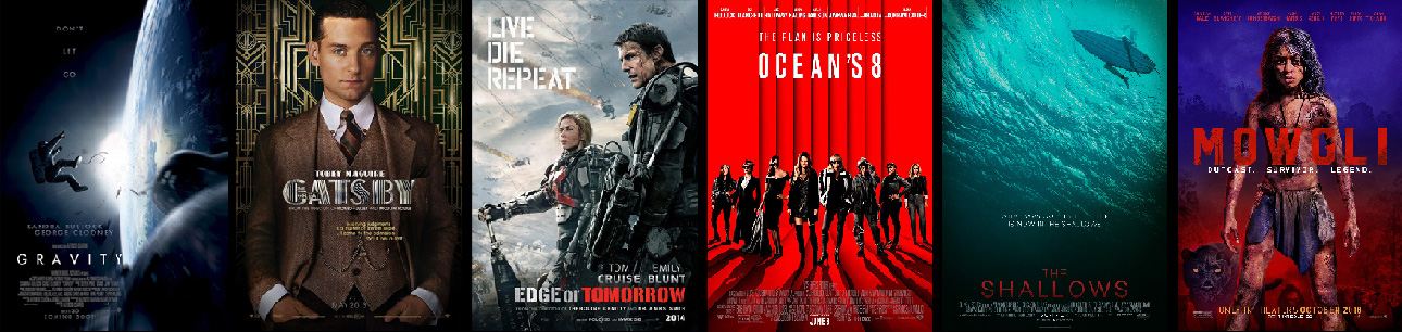ImageStreams credits posters: Gravity, Gatsby, Edge of Tomorrow, Ocean's 8, Shallows, Mowgli